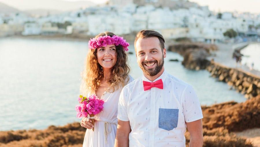 Vőlegény és menyasszony görög esküvőn